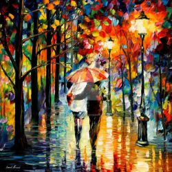 Under The Red Umbrella by Leonid Afremov by Leonidafremov