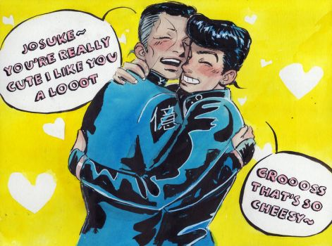 Inktober 18th: Okuyasu and Josuke by Danikatze