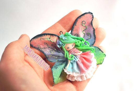 Woods fairy - polymer clay chibi doll by mondoinundito
