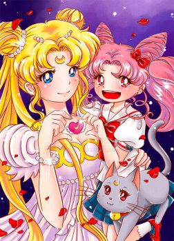 Sailor Moon: Usagi and Chibiusa by Kisava