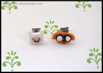 Polymer Clay Finn and Jake Earrings by Llama-Lloon
