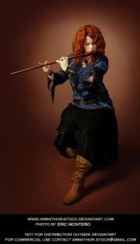 Redhead Playing Flute by Armathor-Stock