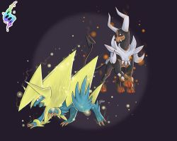 Manectric and Houndoom by JaidenAnimations