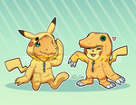 P - Agumon + Pikachu by Kaibuzetta