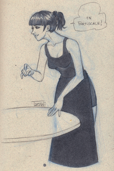 Sketching in restaurant Portuscale by Tozani