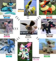 Eeveelutions by NerdyKnitterDesigns