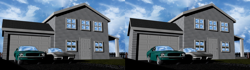 House with '63 Vette and '67 Mustang Stereoscopic by Mechaghostman2