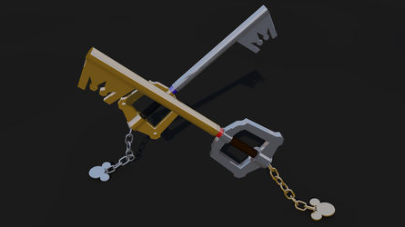 Keyblade 3D Render - Mickey and Sora's Keyblades 2 by HaakonHawk