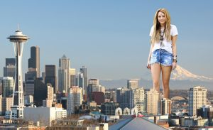 Giantess Miley in Seattle by pedro1232