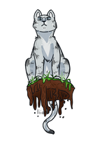 woah a cat on a floaty pile of dirt by liiontai