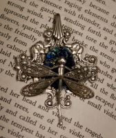 Dragonfly Silver Blue Pendant by LeeAnneKortus