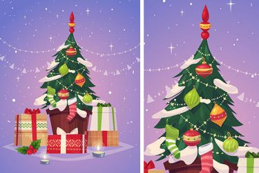 Christmas tree and gifts. Christmas greeting card by krolone