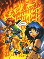 DIRTY PAIR illo for FLATIRON magazine, full color by AdamWarren