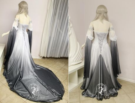 Silver Shadow Elven Gown (back view) by Firefly-Path