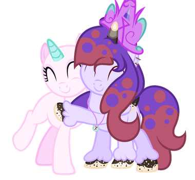 why am i hugging a bald poni (collab) by Milky-Flare