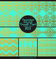 Papers pack #25 - Aquamarine and gold Damask Paper by lune-blanche