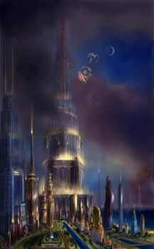 The futuristic city of Anti Death by Vladinakova