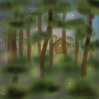 Cabin in Firefly Forest by CatSpaceDesign