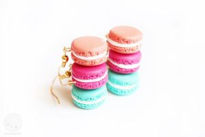 Macaron Earrings Polymer Clay Miniatures by kukishop