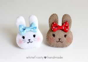 Bunny Rabbit with Ribbon Bow Felt Brooch Pins by whitefrosty