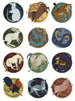 12 Chinese Zodiac Signs by erinwitzel