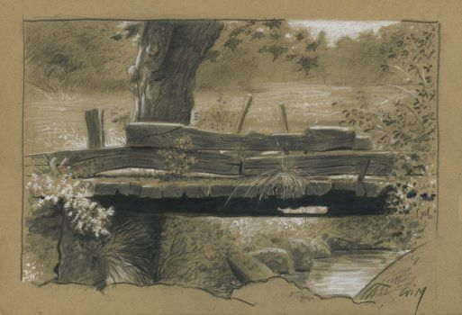 The old bridge : pencils and markers on sketch pap by wimke