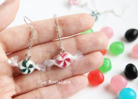 Peppermint Swirl Christmas Candy Earrings Handmade by LaNostalgie05