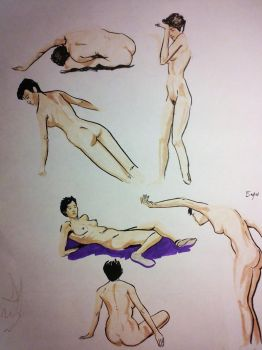 Live figure drawing 5 minutes by EmanuelMacias