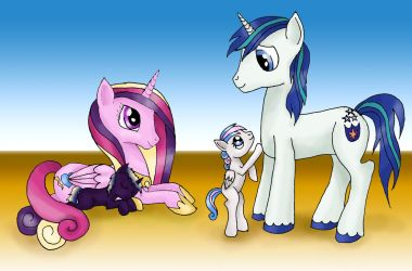 Cadance and Shining Armor with babies! by alleynurr
