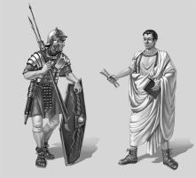 Roman warrior and civilian by LeValeur