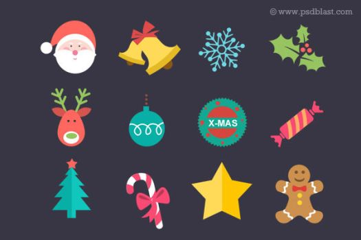 Flat Christmas Icon Set (PSD) by psdblast