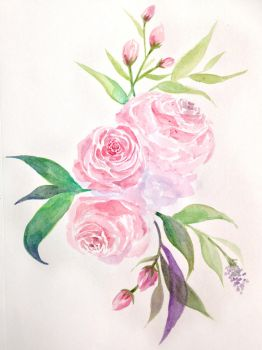 Roses in Watercolour by Kyla-Nichole