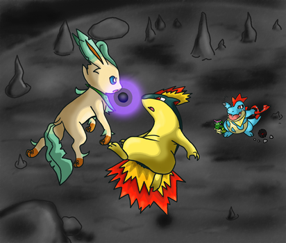 Leafeon VS Dark Quilava by Rindiny