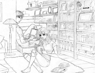WIP - Lounging in the Study by stardazzle