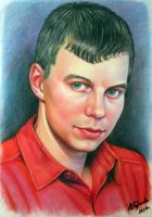 Portrait of a young man in a red shirt. by evlena