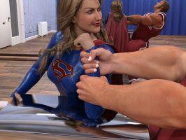 Supergirl arm wrestling by DahriAlGhul