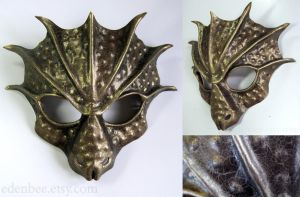 Minion of Yig, Father of Serpents, leather mask by shmeeden