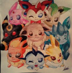 Evee y sus evoluciones (pokemon) by Crishanin