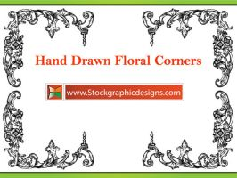 Hand Drawn Flower Corners Eps by Stockgraphicdesigns
