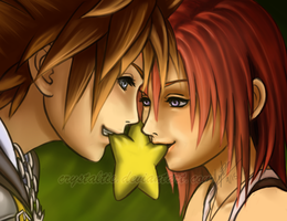 Sora and Kairi: Paopu Fruit by TrulyTuyet