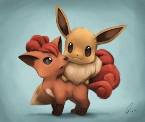 Eevee and Vulpix by Quinfu