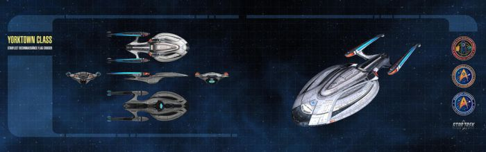 Yorktown Class Starship Dual-Monitor Wallpaper by thomasthecat