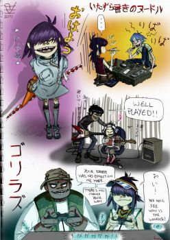 Noodle's Doodle Page! Ft. 2-D, Murdoc and Russel by krazorspoon