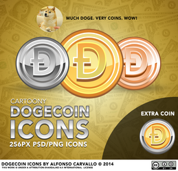 Cartoony Dogecoin Icons by Alforata