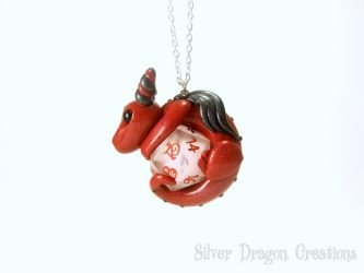 Red D20 Dice Dragon on a Clear Elven Die by Euphyley