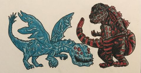Chibi Kaiju 2: Winged Servum and Shin Godzilla by Dealwithitdewott