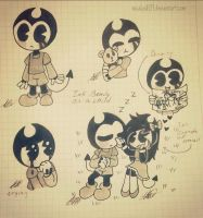 .Ink Bendy as a Child-Sketches #44. by vocaloid121