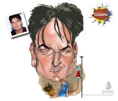 Charlie Sheen Caricature by haroldgeorge-gsting