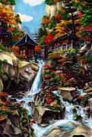 WaterFall in Valley by HUICHANG