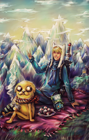 Adventure time_Finn,Jake,Beemo+ find The Ice King) by DZIU09